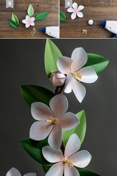 Bạn vẽ cắt giấy màu trắng thành bông hoa có 5 cánh và 1 bông hoa nhỏ 6 cánh trong đó có 2 cánh dài hơn đối nhau. Cắt giấy màu xanh nhạt và xanh đậm thành 4 tấm hình chiếc lá với hai kích thước lớn nhỏ. Cắt giấy màu vàng một tấm hình chữ nhật dài, cắt tua rua dọc theo cạnh chiều dài làm nhụy hoa. Bạn tô màu hồng đậm giữ bông hoa lớn và màu hồng nhạt tua rua trên 2/3 cánh hoa. Tiếp theo, dùng mũi kéo ấn đường thẳng giữa chiếc lá làm gân lá, vuốt cong nhẹ hai bên mép lá ngược về phía sau. Bạn dùng mũi kéo vuốt cong nhẹ hai bên cánh hoa vào trong, và các cánh hoa nhỏ úp vào trong làm nụ hoa.