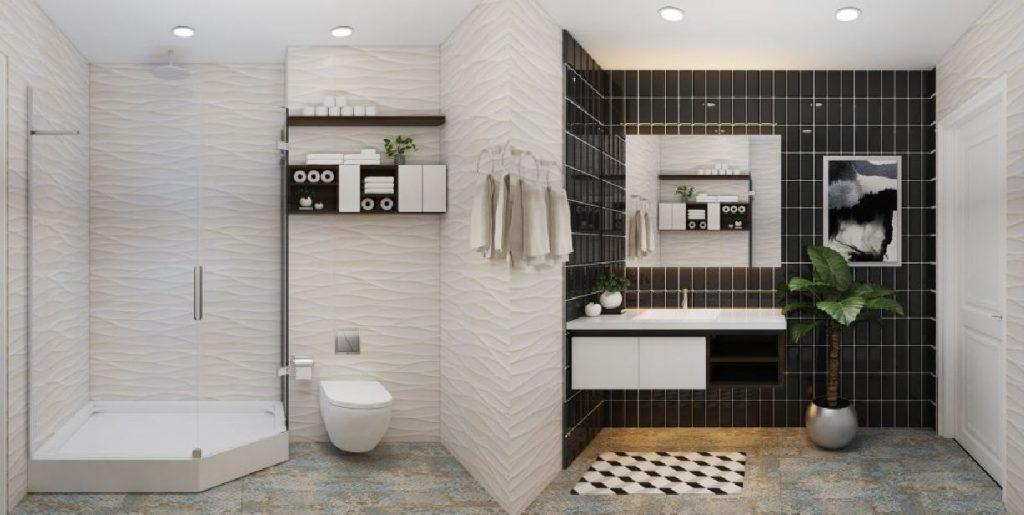 Không gian căn phòng tắm nhà vệ sinh phụ thuộc vào cách bạn bố trí đồ đạc bên trong đó