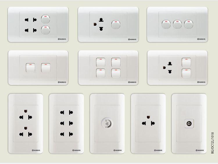 Các thiết bị ổ cắm công tắc điện của Sino có độ bền và kiểu dáng đa dạng